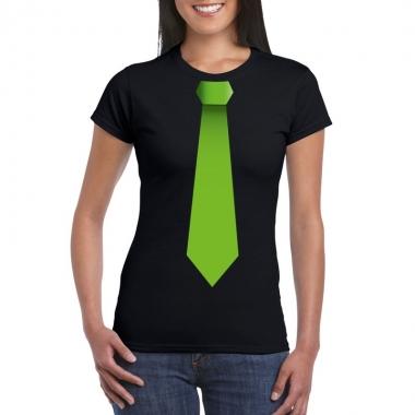 Zwart t shirt groene stropdas dames