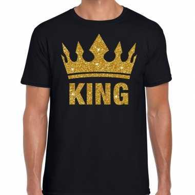 Zwart t shirt heren gouden glitter king