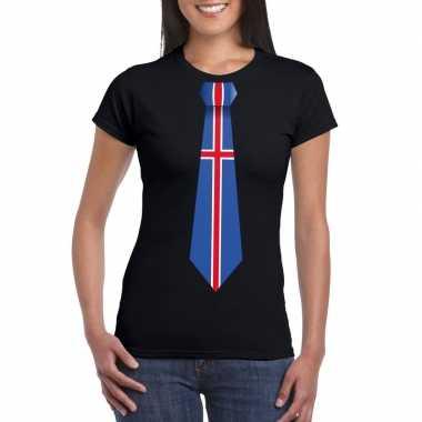 Zwart t shirt ijsland vlag stropdas dames