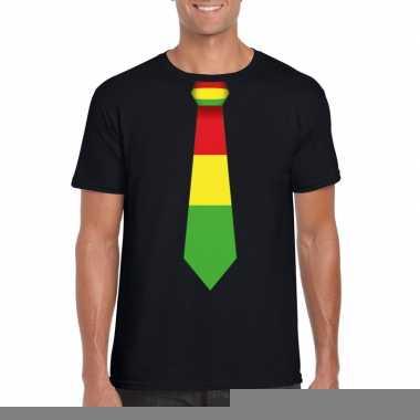 Zwart t shirt limburgse vlag stropdas heren
