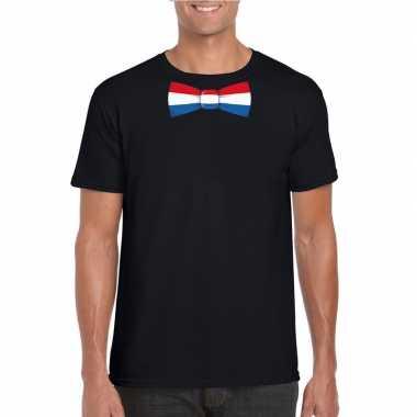 Zwart t shirt nederland vlag strikje heren