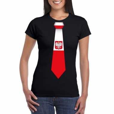 Zwart t shirt polen vlag stropdas dames
