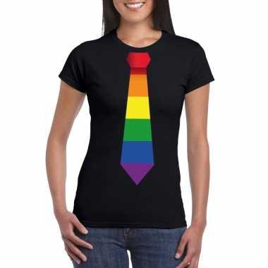 Zwart t shirt regenboog vlag stropdas dames