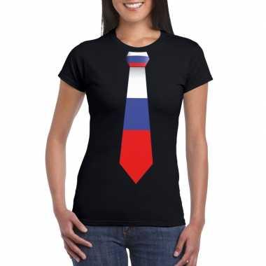 Zwart t shirt rusland vlag stropdas dames