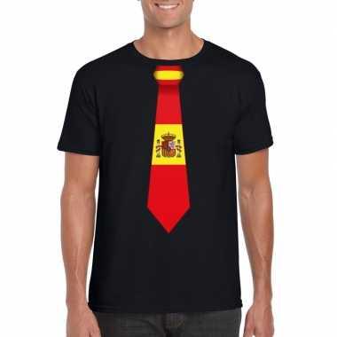 Zwart t shirt spanje vlag stropdas heren