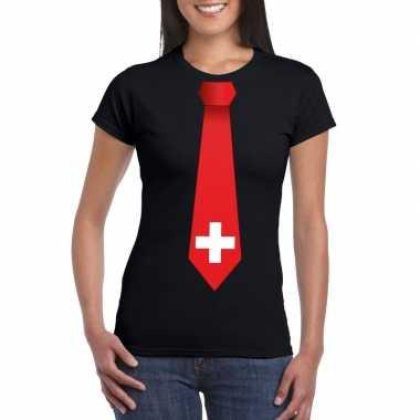 Zwart t shirt zwitserland vlag stropdas dames