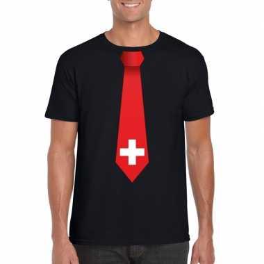 Zwart t shirt zwitserland vlag stropdas heren