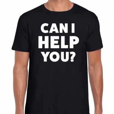 Zwart tekst shirt can i help you bedrukking heren