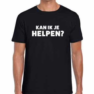 Zwart tekst shirt kan ik je helpen drukking heren