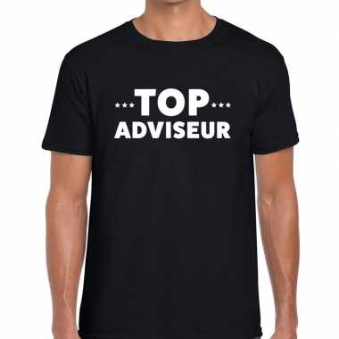 Zwart tekst shirt top adviseur bedrukking heren