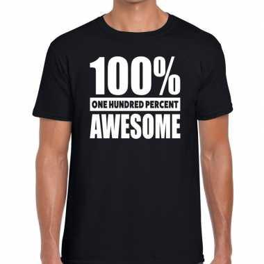 Zwart tekst t shirt 100 procent awesome heren
