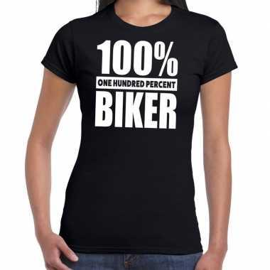 Zwart tekst t shirt 100 procent biker dames