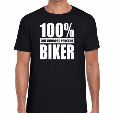 Zwart tekst t shirt 100 procent biker heren