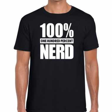 Zwart tekst t shirt 100 procent nerd heren