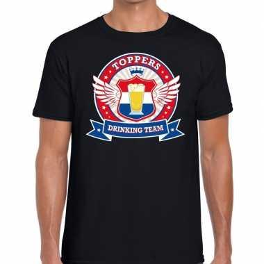 Zwart toppers drinking team t shirt heren