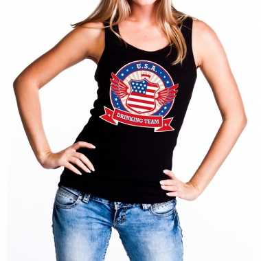 Zwart usa drinking team tanktop / mouwloos shirt dames