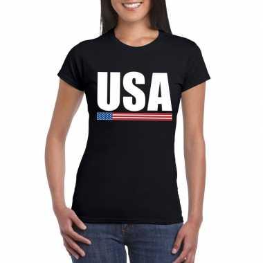 Zwart usa supporter t shirt dames