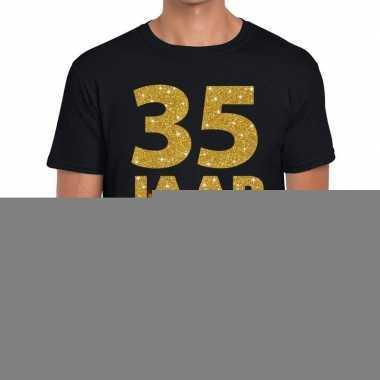 Zwart vijfendertig jaar verjaardag shirt heren gouden bedrukking