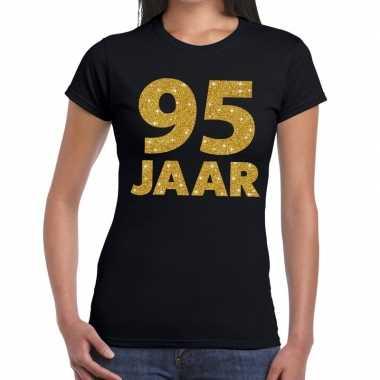Zwart vijfennegentig jaar verjaardag shirt dames gouden bedrukking