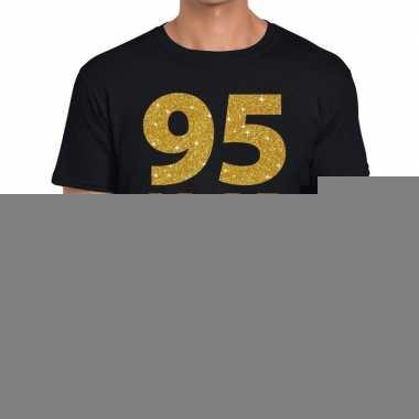 Zwart vijfennegentig jaar verjaardag shirt heren gouden bedrukking
