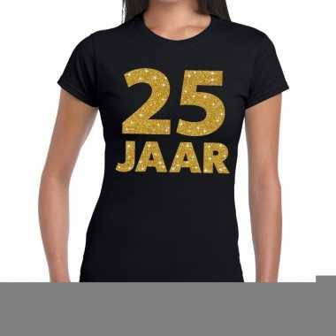 Zwart vijfentwintig jaar verjaardag shirt dames gouden bedrukking