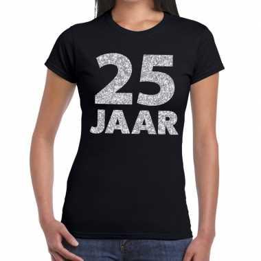 Zwart vijfentwintig jaar verjaardag shirt dames zilveren bedrukking