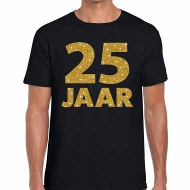 Zwart vijfentwintig jaar verjaardag shirt zwart heren gouden bedrukki