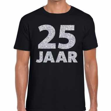 Zwart vijfentwintig jaar verjaardag shirt zwart heren zilveren bedruk