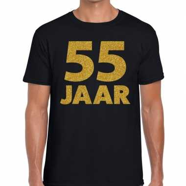 Zwart vijfenvijftig jaar verjaardag shirt heren gouden bedrukking