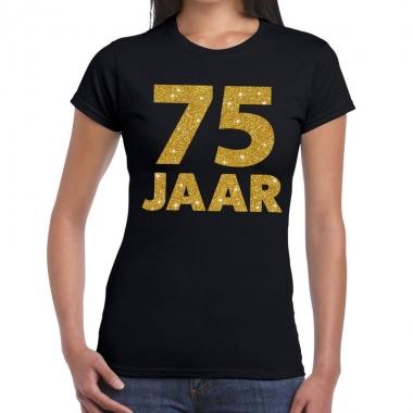 Zwart vijfenzeventig jaar verjaardag shirt dames gouden bedrukking