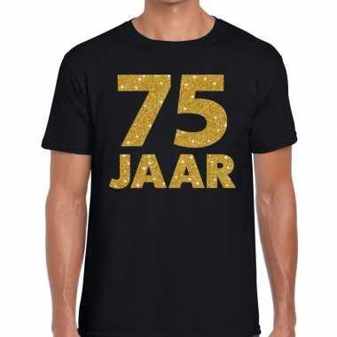 Zwart vijfenzeventig jaar verjaardag shirt heren gouden bedrukking