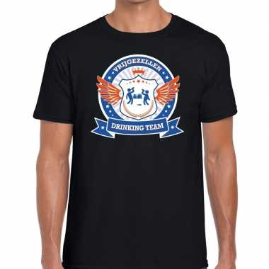Zwart vrijgezellenfeest drinking team t shirt blauw oranje heren