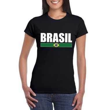 Zwart/ wit brazilie supporter t shirt dames