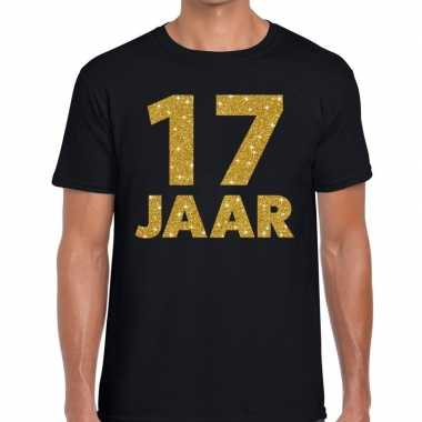 Zwart zeventien jaar verjaardag shirt heren gouden bedrukking