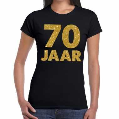 Zwart zeventig jaar verjaardag shirt dames gouden bedrukking