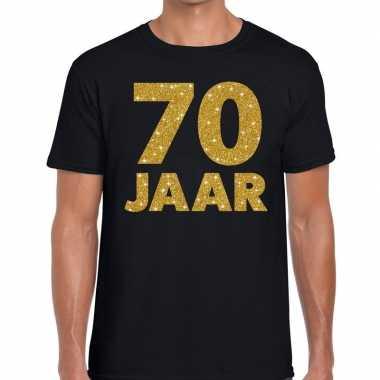 Zwart zeventig jaar verjaardag shirt heren gouden bedrukking
