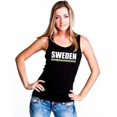 Zwart zweden supporter singlet shirt/ tanktop dames