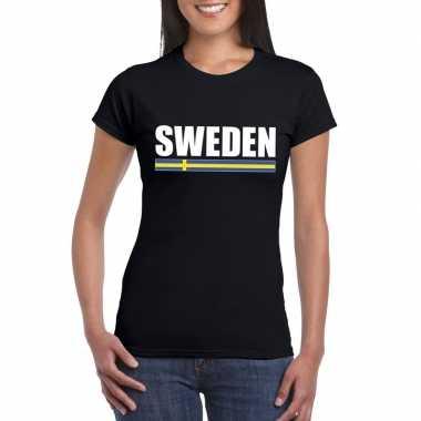 Zwart zweden supporter t shirt dames