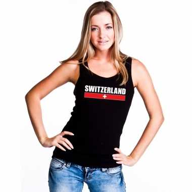 Zwart zwitserland supporter singlet shirt/ tanktop dames