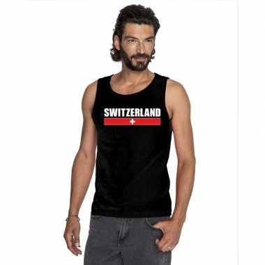 Zwart zwitserland supporter singlet shirt/ tanktop heren