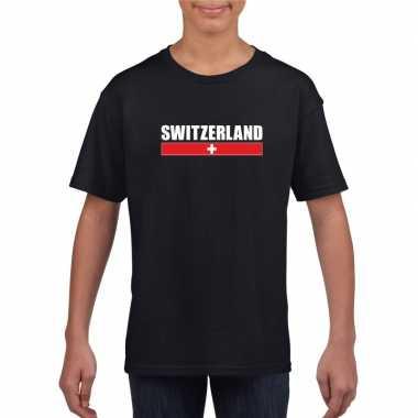 Zwart zwitserland supporter t shirt kinderen