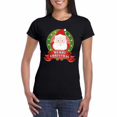 Zwarte kerst t shirt kerstman print dames merry christmas