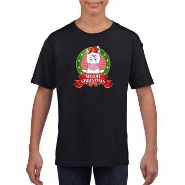 Zwarte kerst t shirt kinderen eenhoorn