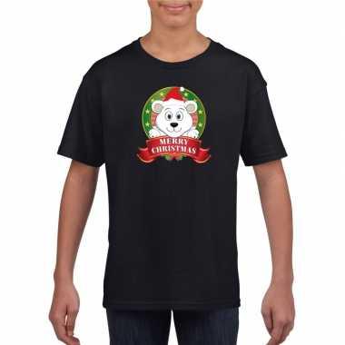 Zwarte kerst t shirt kinderen ijsbeer