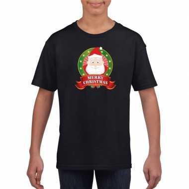Zwarte kerst t shirt kinderen kerstman