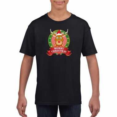 Zwarte kerst t shirt kinderen rendier
