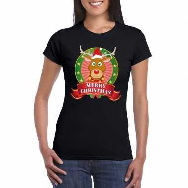 Zwarte rudolf kerst t shirt dames merry christmas