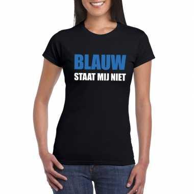Zwarte tekst t shirts dames blauw staat mij niet bedrukking