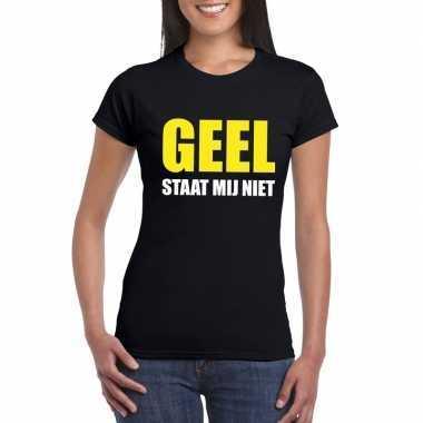 Zwarte tekst t shirts dames geel staat mij niet bedrukking