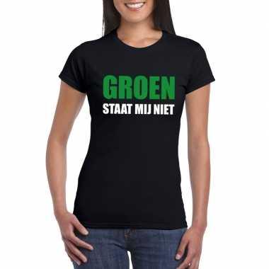 Zwarte tekst t shirts dames groen staat mij niet bedrukking